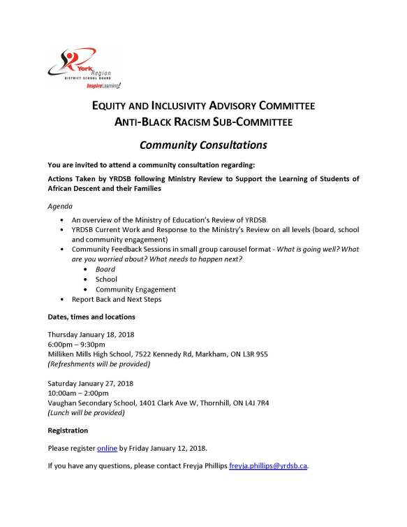 YRDSB EIAC-Anti-Black Racism Community Consultations Jan 2018--INVITATION FLYER