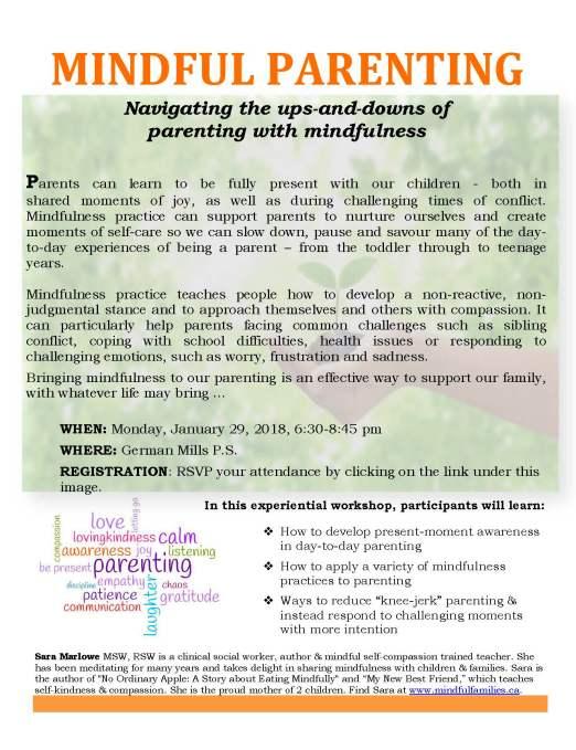 Mindful Parenting Workshop January 29 2018
