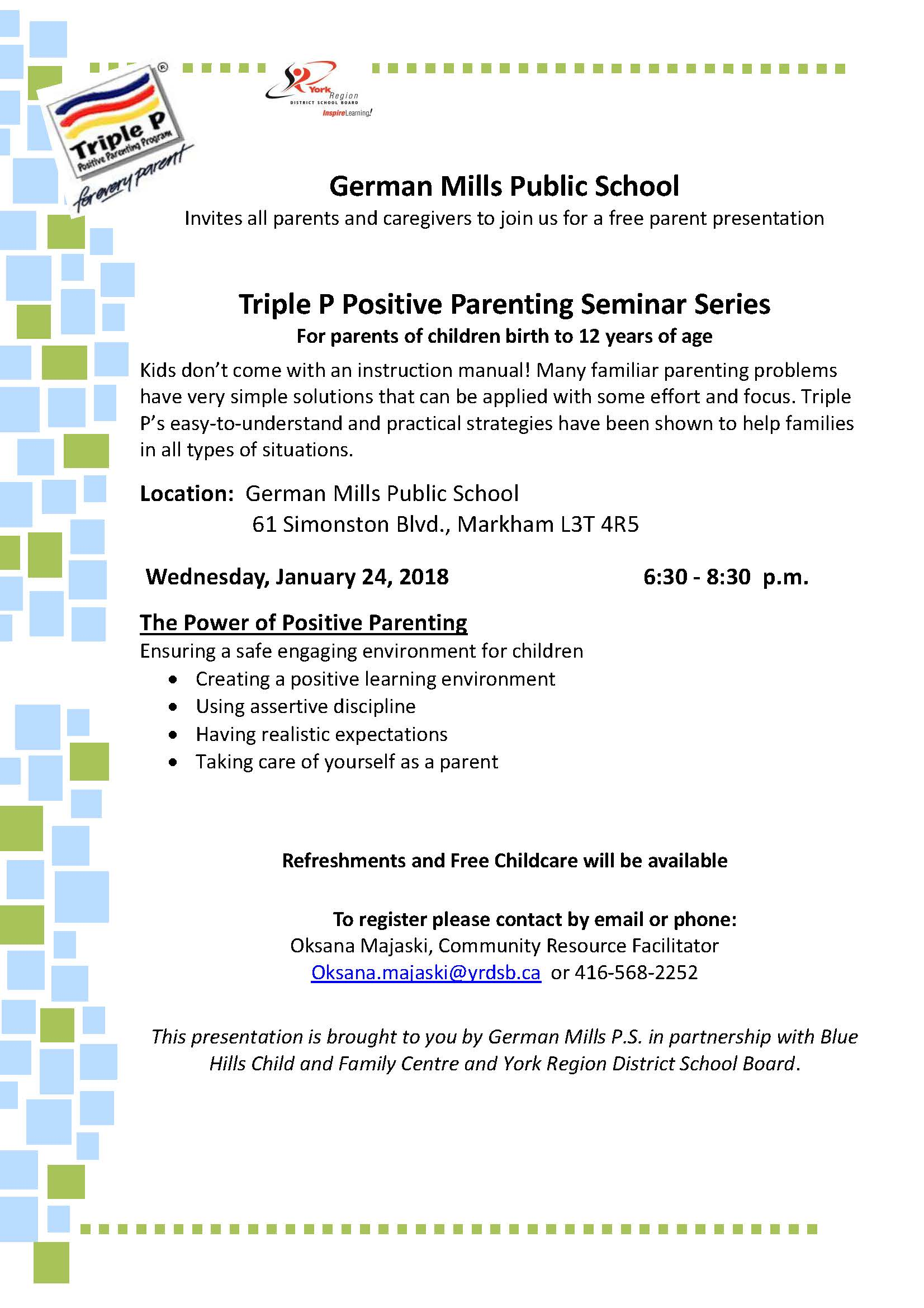 Power of Positive Parenting Jan24 2018 @ German Mills PS