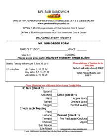 Sub Order Forms -SPRING 2018