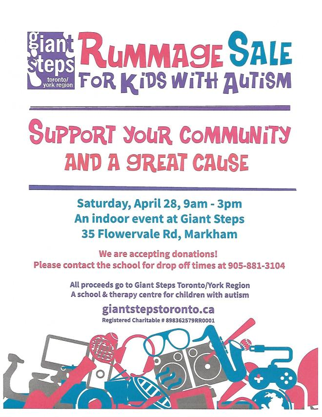 Rummage Sale Flyer April 2018
